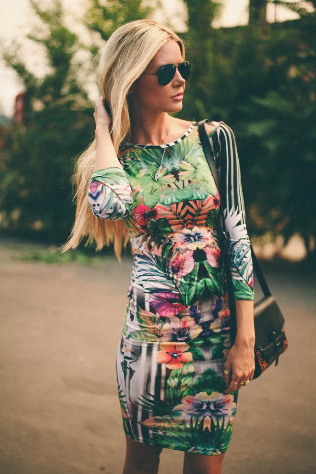 Tropical Print Corset Dress