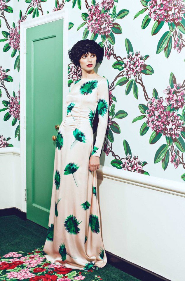 Tropical Print Evening Dress