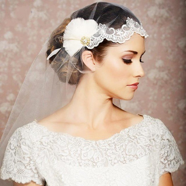 Wedding Hairstyle With Veils and Hairpieces