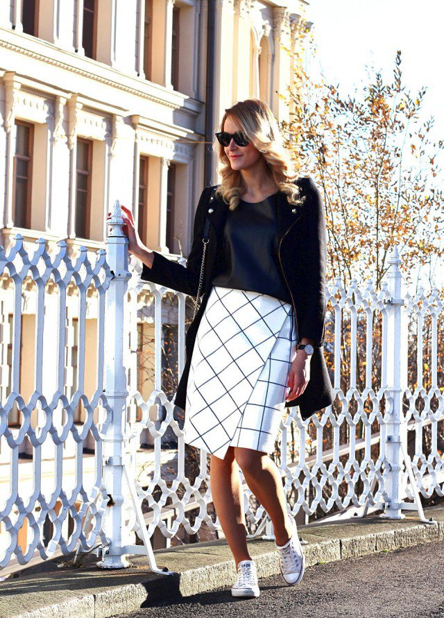 White Checkered Print Skirt
