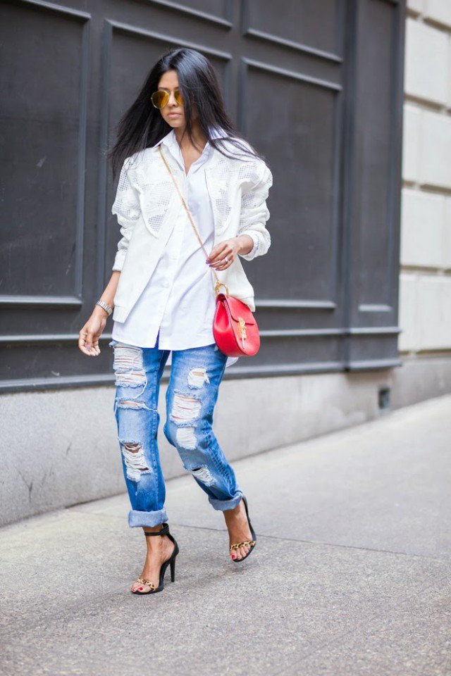 White Coat with Ripped Jeans