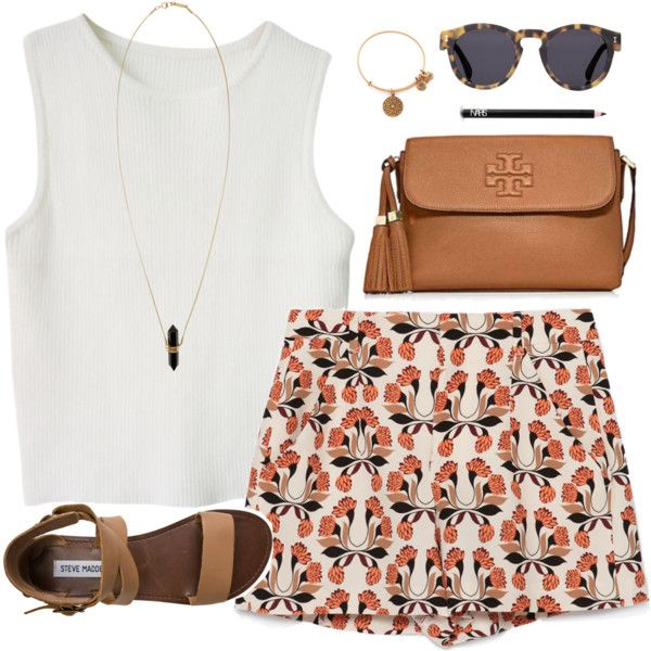 White Crop Top and High-Waist Floral Shorts