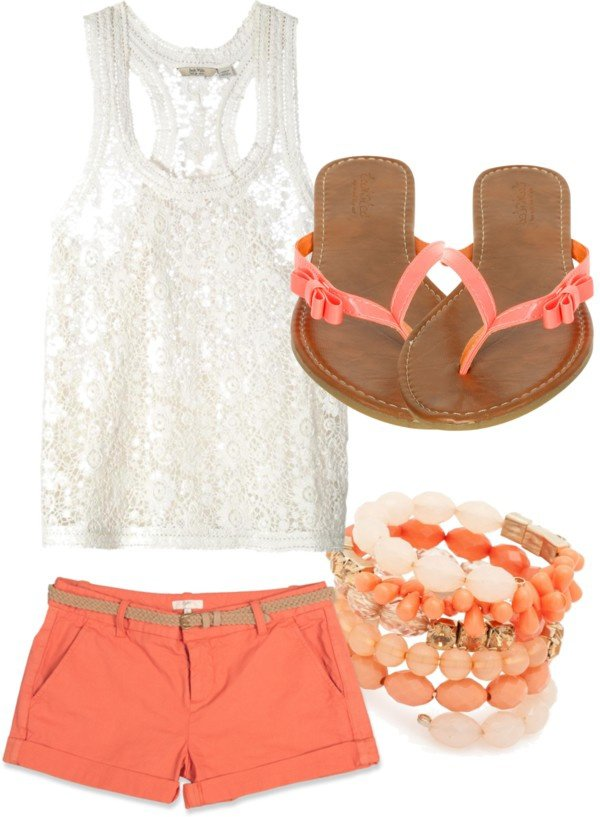 White Lacey T-Shirt and Coral Shorts