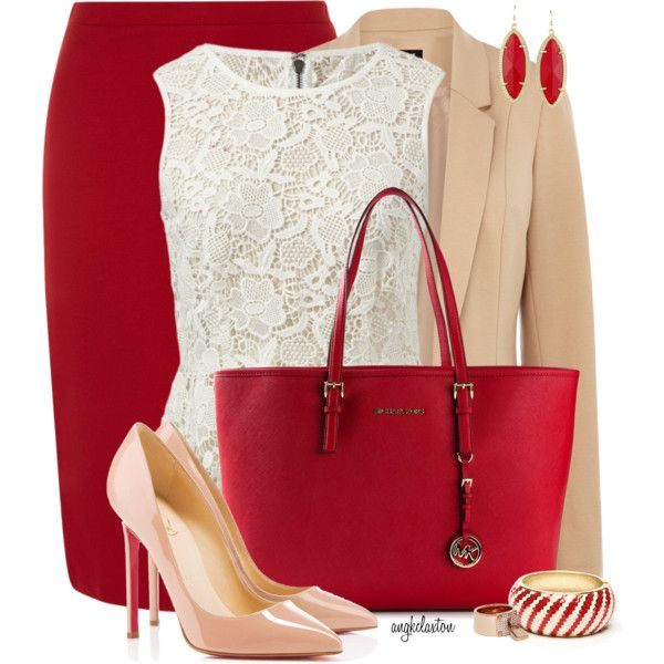 White Lacey Top with Red Pencil Skirt
