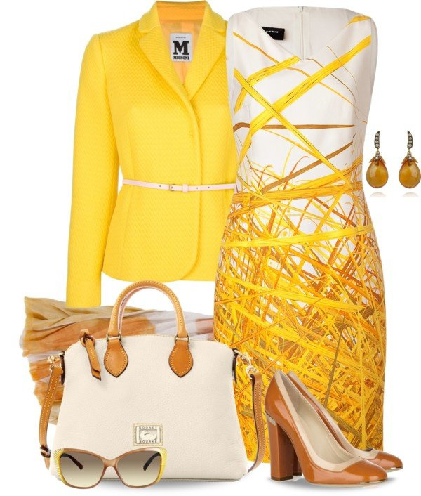 White Print Dress and Yellow Blazer