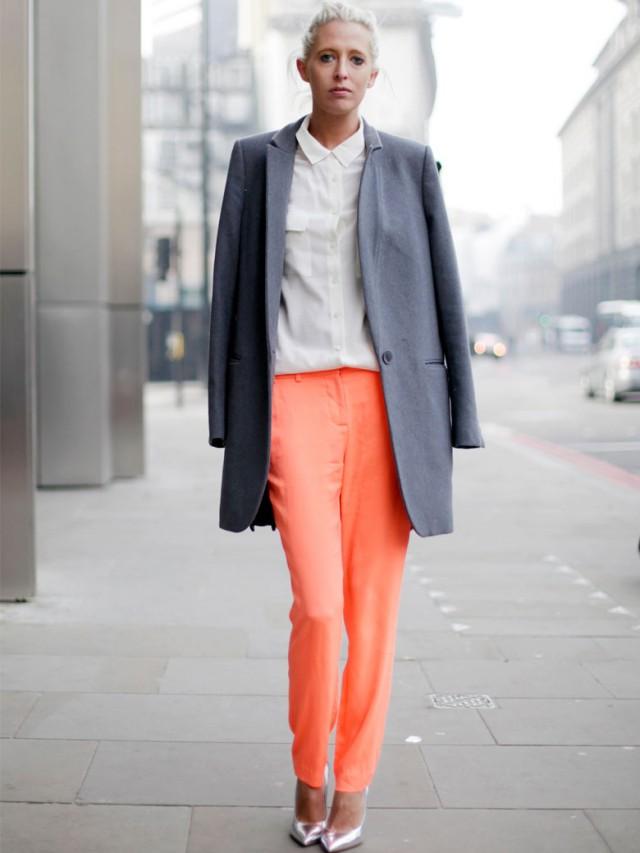 White Shirt and Orange Pants