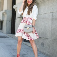 White Shirt and Print Skirt