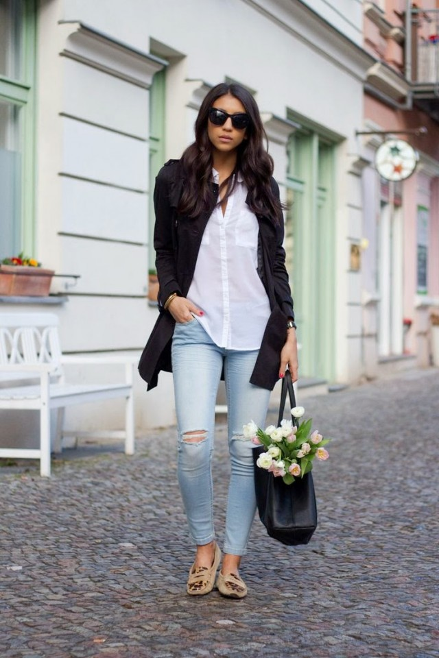 White Shirt with Ripped Jeans