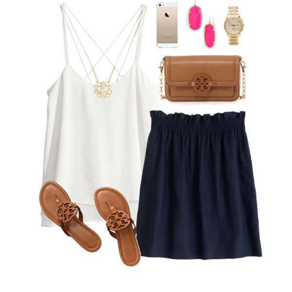 White Strappy Tee and Flared Navy Blue Skirt