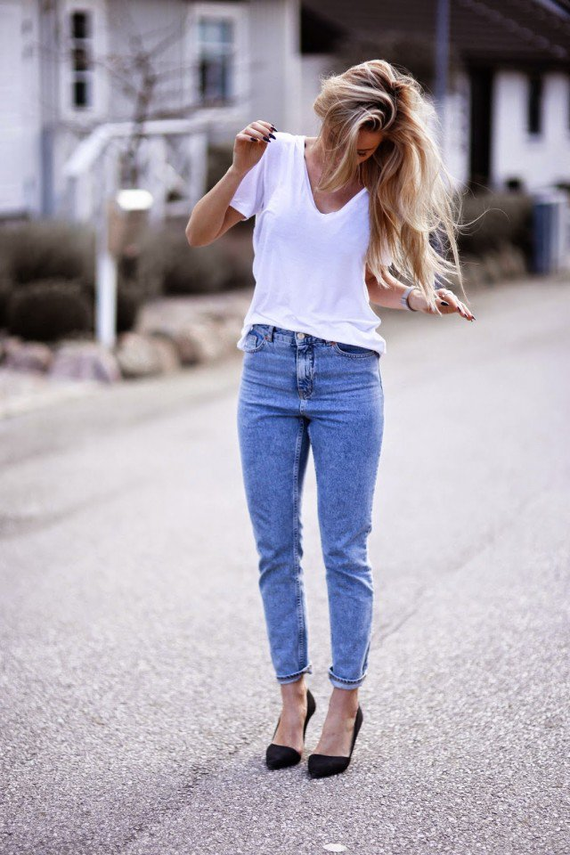 White T-Shirt with Jeans