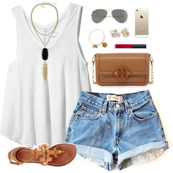 White Tank Top and High-Waist Denim Shorts