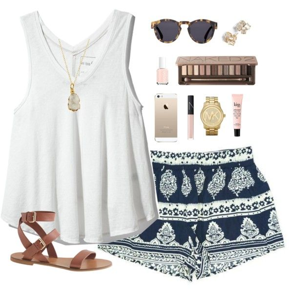 White Tee and Blue Printed Shorts