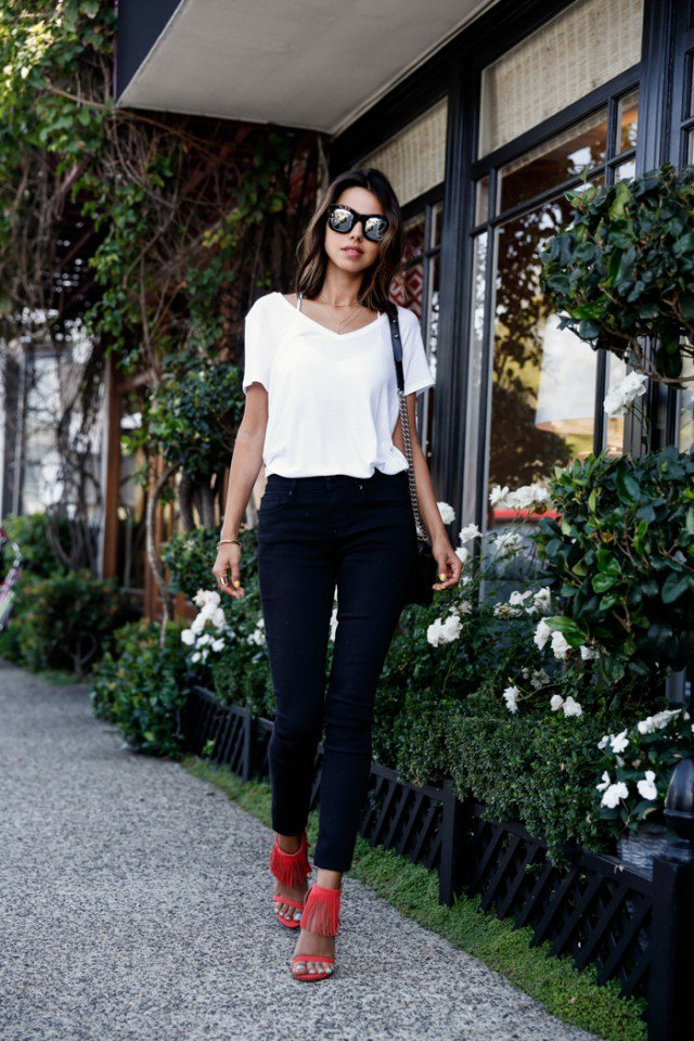 white top black jeans - Jean Yu Beauty