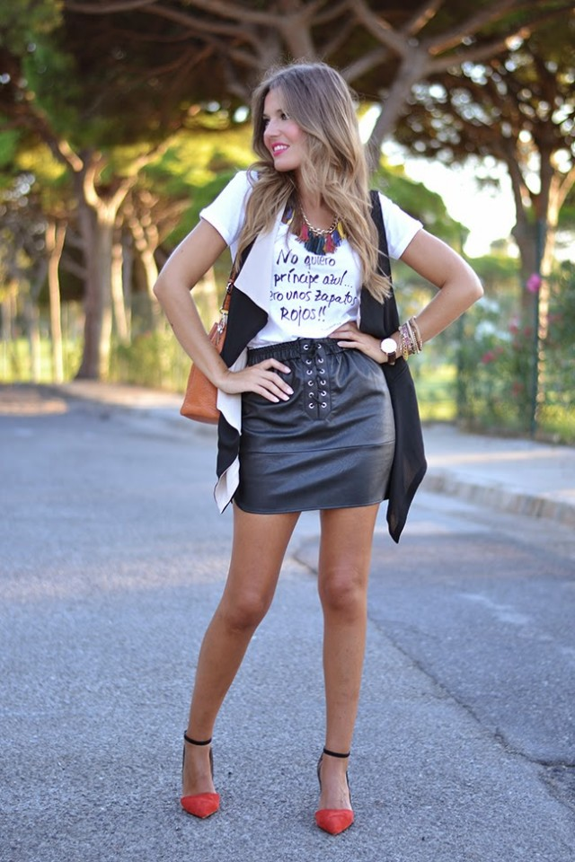 White Top and Black Leather Skirt