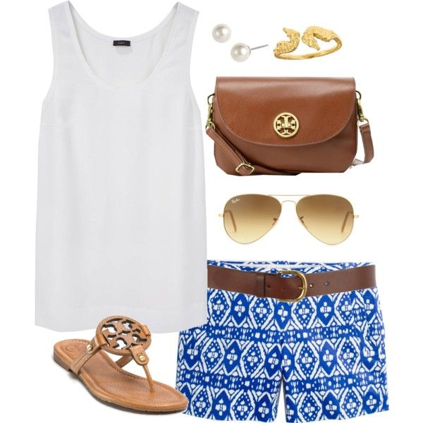 White Top and Blue Printed Shorts