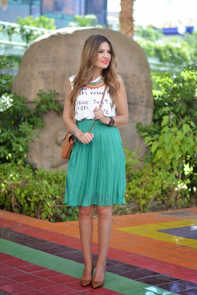 White Top and Blue Skirt