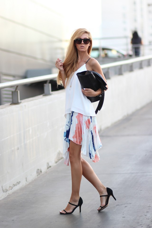 White Top and Pleated Skirt