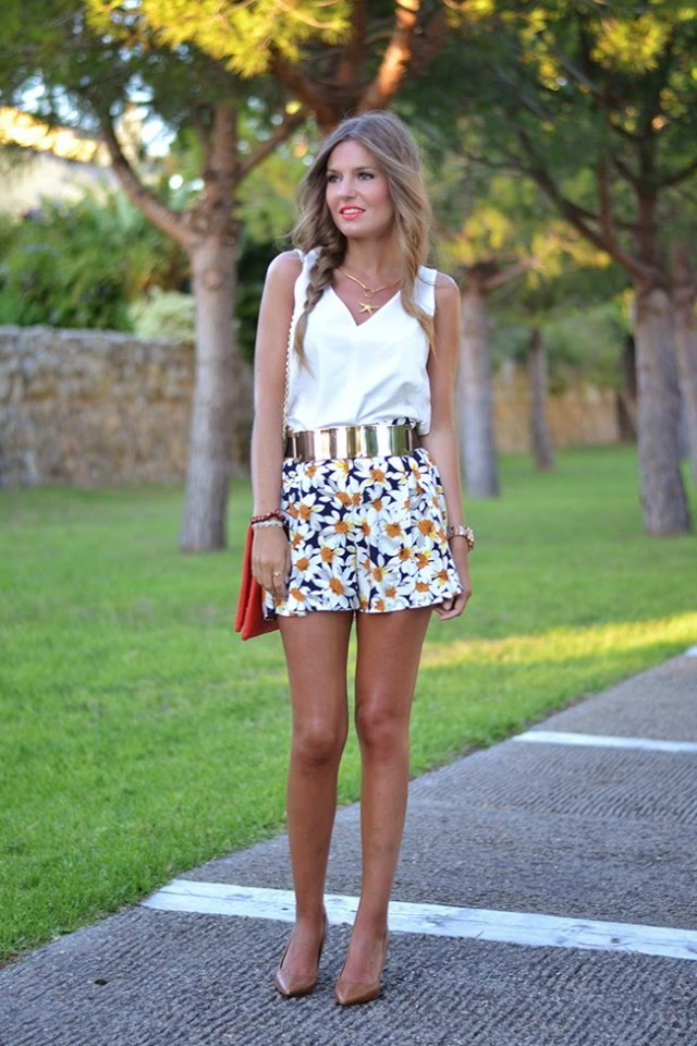 White Top and Print Skirt