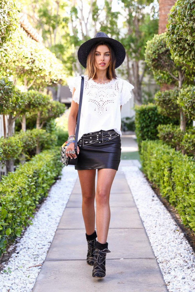 Black And White Leather Skirt - Dress Ala