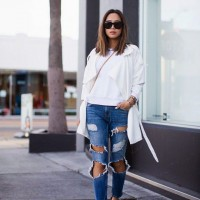 White Top with Ripped Jeans