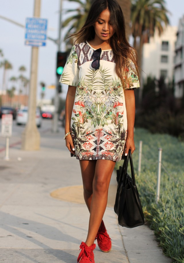 White Tropical Print Dress