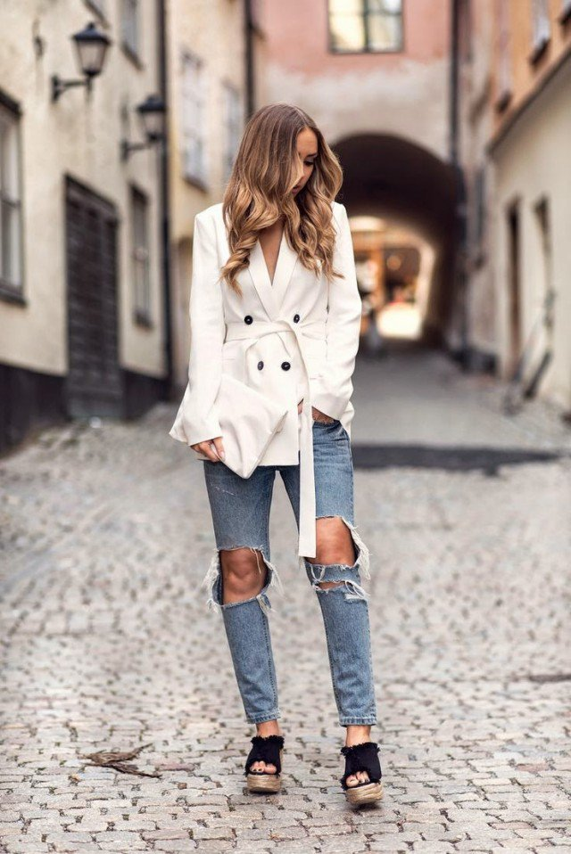 White Windcoat with Ripped Jeans