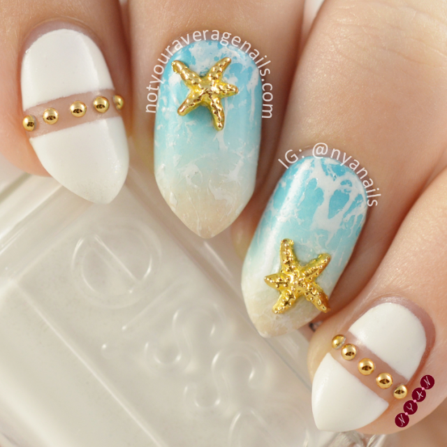 White and Blue Nail Art Design