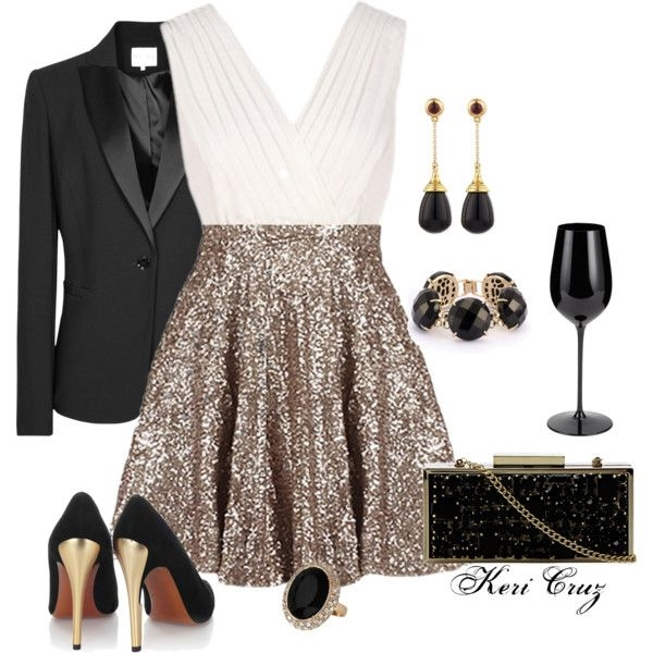 White and Gold Evening Dress