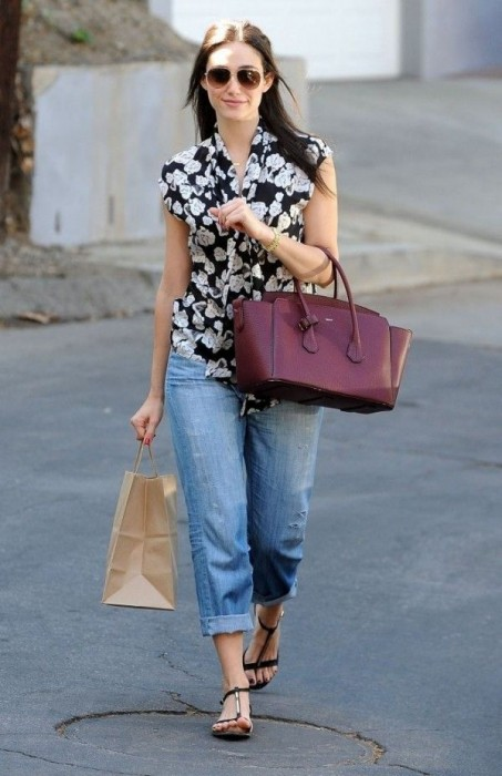 Boyfriend Jeans With a Print Top