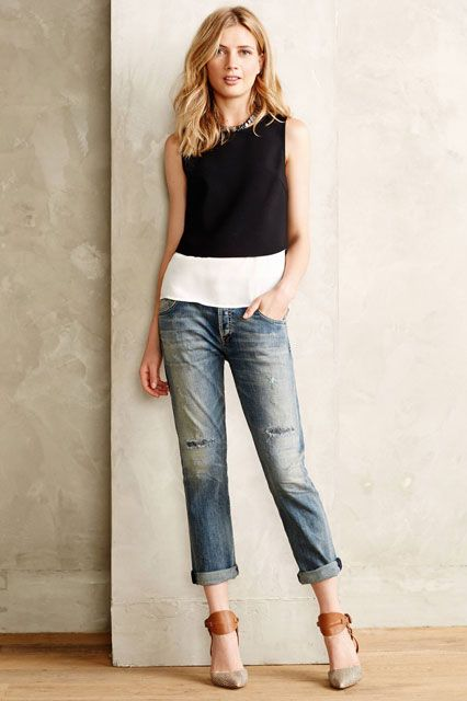 Boyfriend Jeans With a Slim Tee