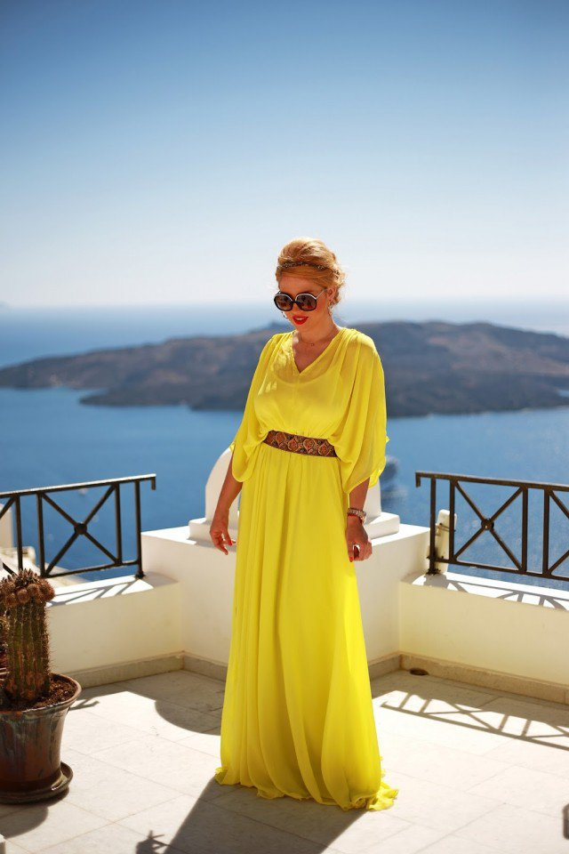 Yellow Maxi Dress with Thick Belt