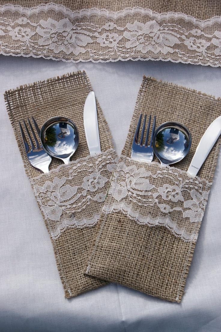 Burlap Cutlery Holders