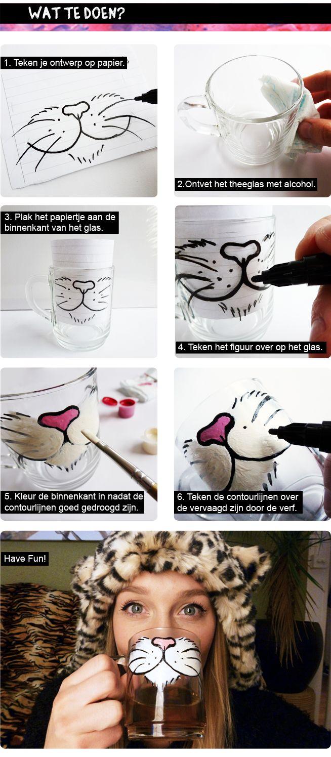 Cat Tea Glass