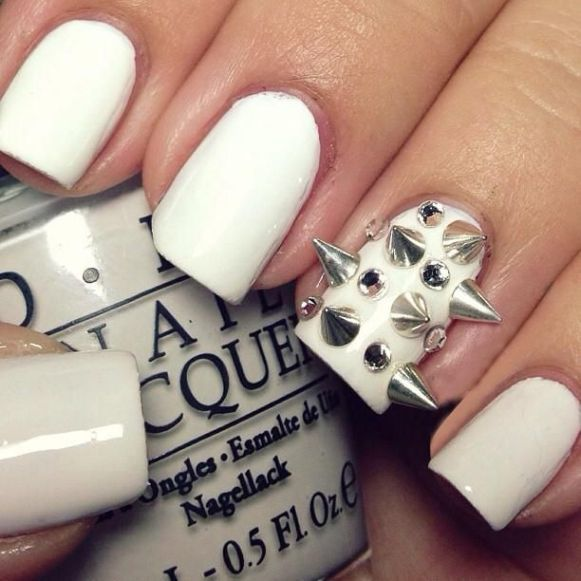 3D White Nail Design for Long Nails