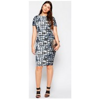 ASOS CURVE Body-Conscious Midi Dress in Abstract Check Print, $45