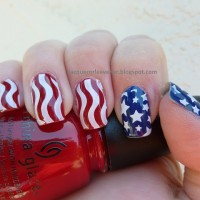 Americal Flag Inspired Nails