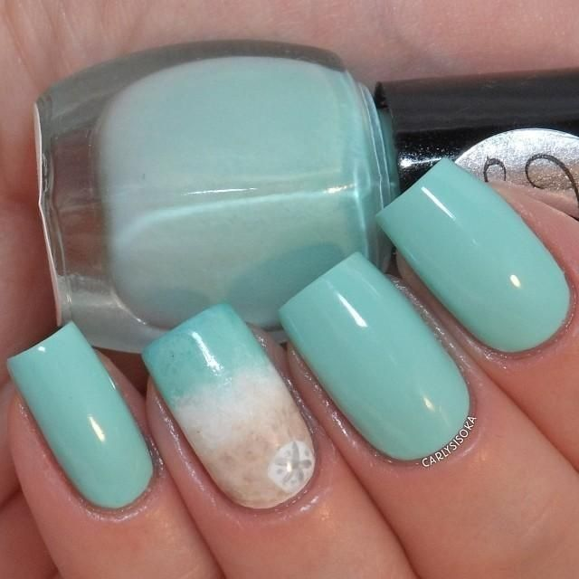 babyblue nail design idea