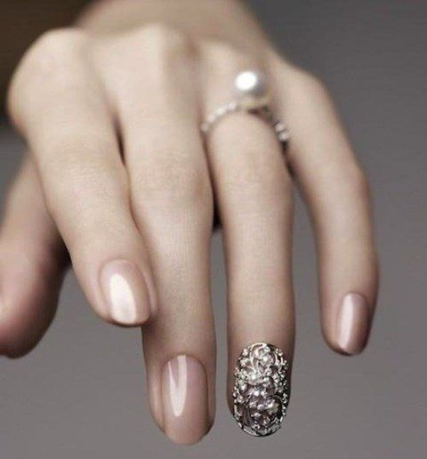 Beige Wedding Nail Idea