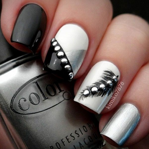 Black and Silver Nail Design for Long Nails - 21 Beautiful Nail Designs For  Long Nails - Nail Designs Black And Silver Graham Reid