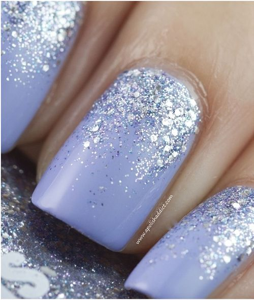 Blue Glitter Wedding Nail Idea