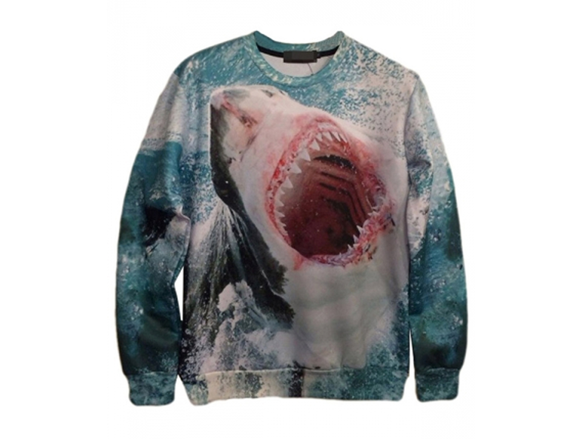 Blue Womens Crew Neck Jumper Craze Shark Printed Sweatshirt, $17