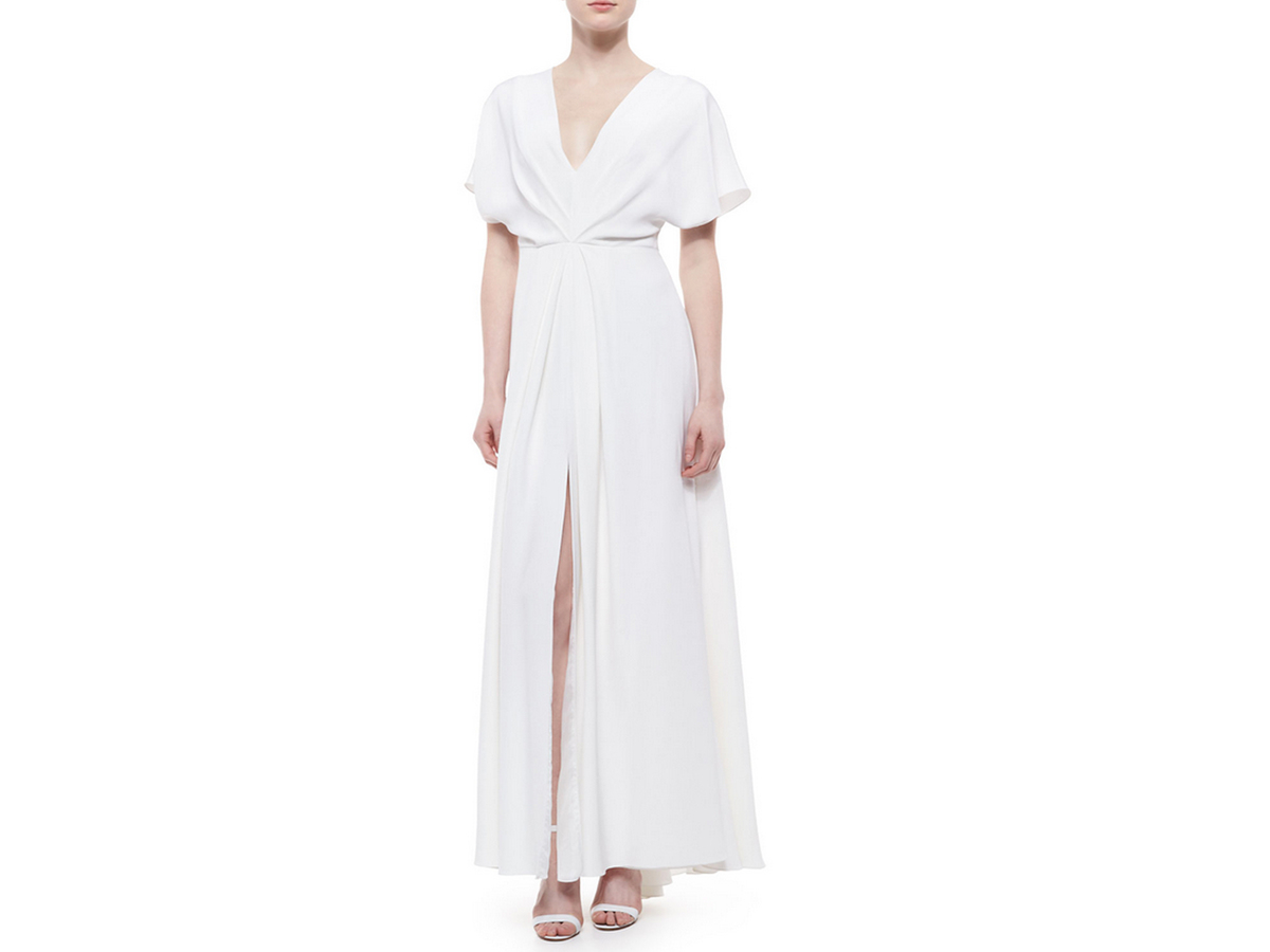 Christian Siriano High-Slit Draped Dolman Gown, $990