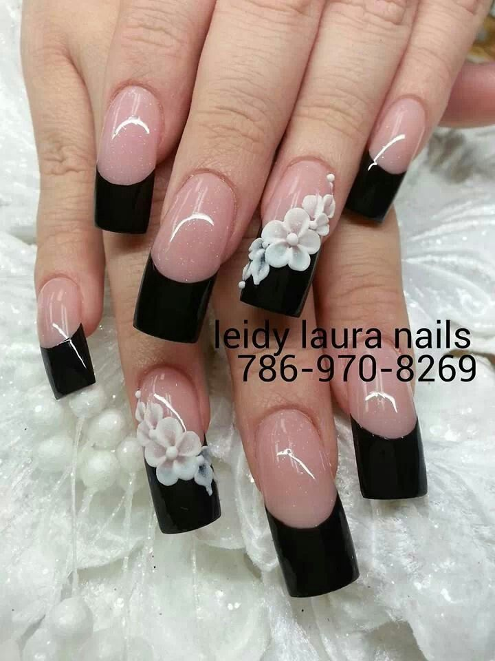 Classic French Tips Nail Design for Long Nails