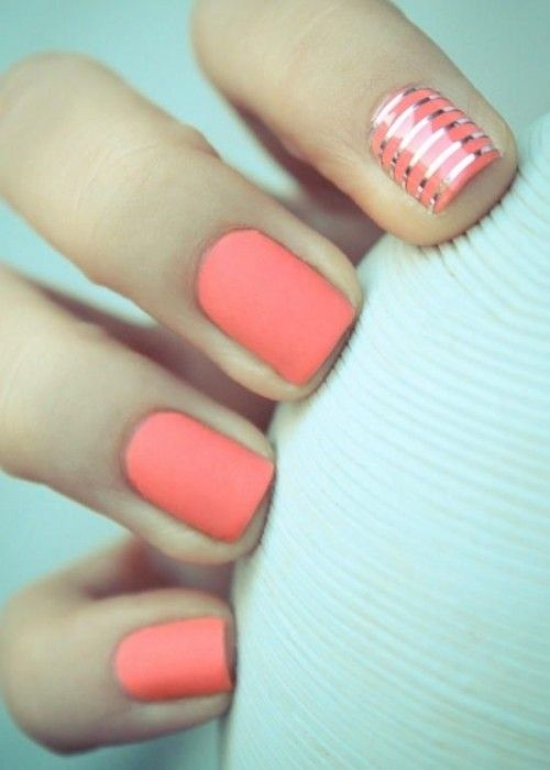 Coral Wedding Nail Idea