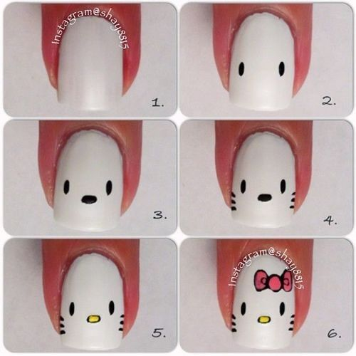 Cute Hello Kitty Nail Design Tutorial