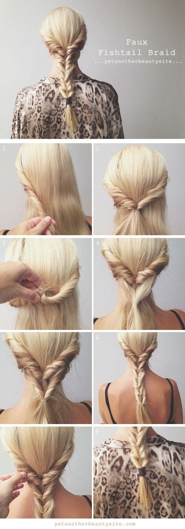 Faux Fishtail Braid Hairstyle Tutorial