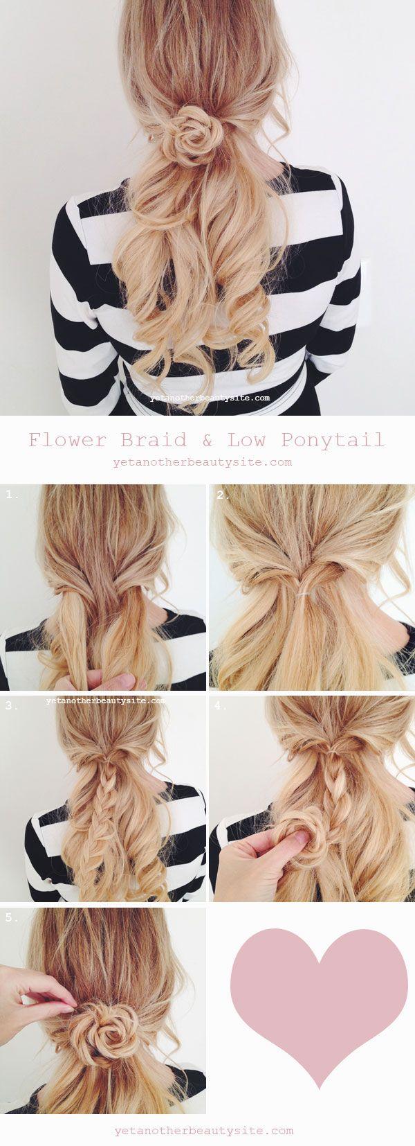 Flower Braid Low Ponytail Hairstyle Tutorial