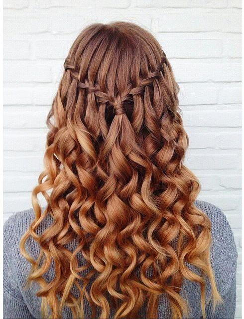 Glamorous Waterfall Braid for Curly Hair