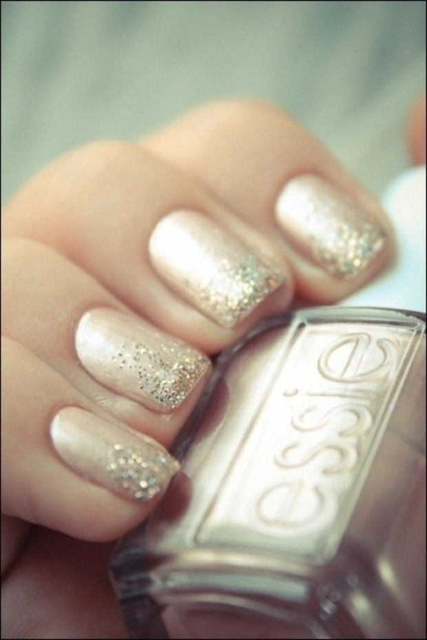 Glitter Ombre Wedding Nail Idea
