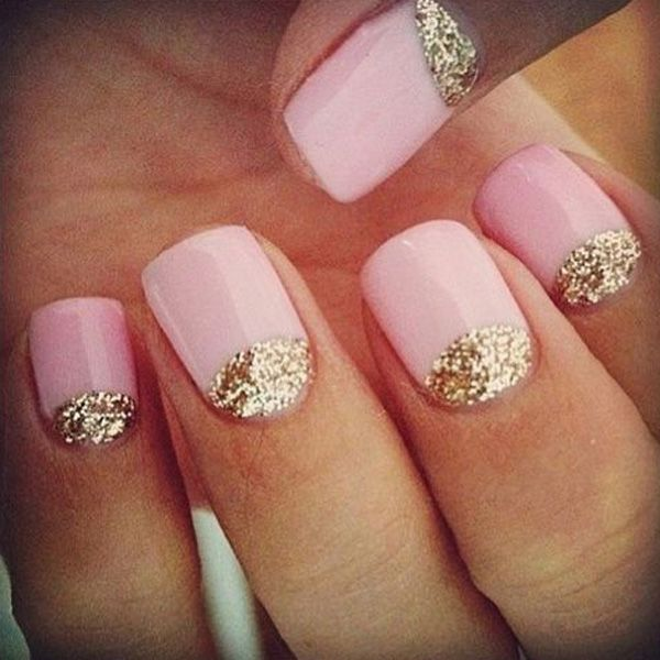 Glittery Pink Nail Art Design - 22 Super Easy Nail Art Designs And Ideas For 2018 - Pretty Designs